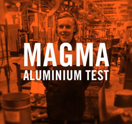 Tranemo har testet 2 typer flammehæmmende Magma metervarer mod 660,3°C smeltet aluminium