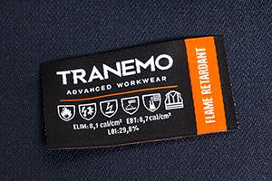 FR-emblemet viser tøjets Arc-Rating og hvilke standarder det er certificeret til.