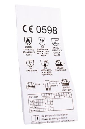 CE-etikett inde i beskyttelsesbeklædningen